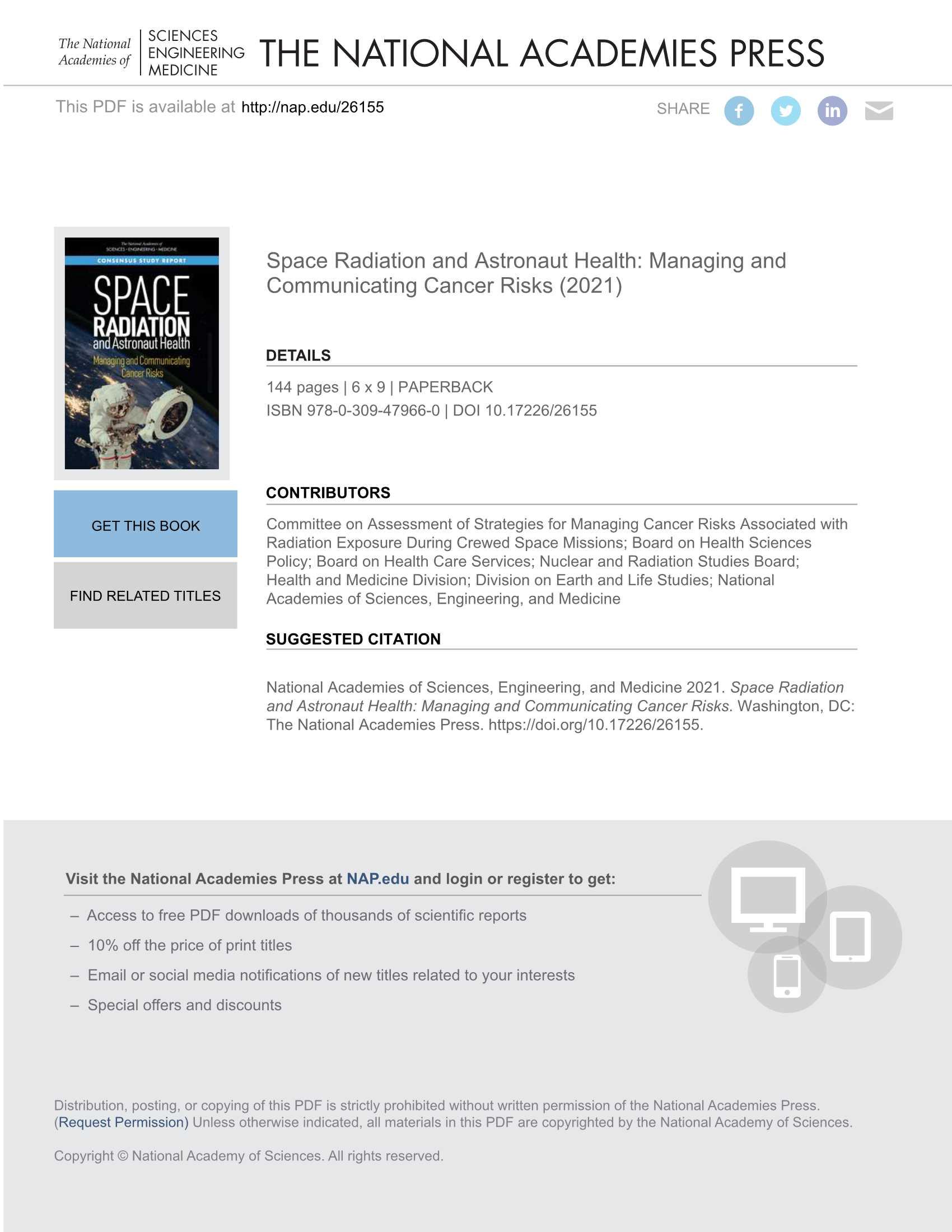 空间辐射与宇航员健康管理和交流癌症风险-2021.09-145页